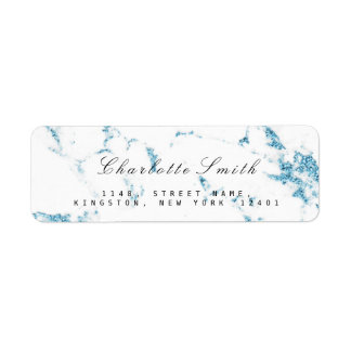 Minimal White Blue Marble Return Address Labels