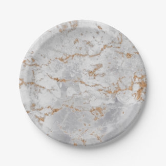 Minimal White Gray Carrara Gold Marble Grungy Silv Paper Plate