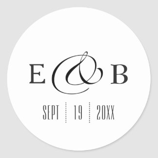 Minimal White | Monogram Wedding Round Sticker