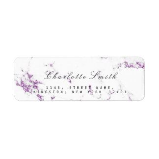 Minimal White Purple Lavender Marble RSVP Return Address Label