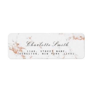 Minimal White Rose Gold Copper Marble RSVP Return Address Label