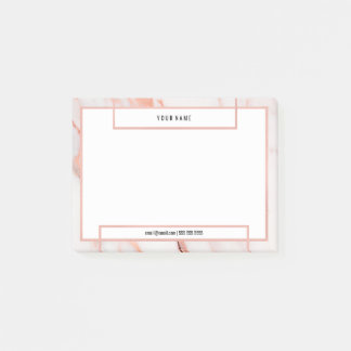 Minimal White Rose Gold Marble Stone Luxury Blush Post-it® Notes