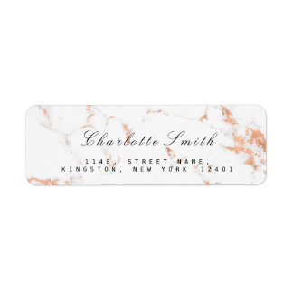 Minimal White Rose Marble Return Address Labels