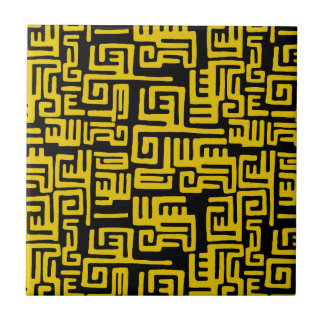Minimal Yellow Black African Tribal Pattern Small Square Tile