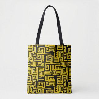 Minimal Yellow Black African Tribal Pattern Tote Bag