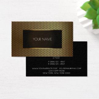 Minimal Zig Zag Gold Lines Black Goled Frame Business Card