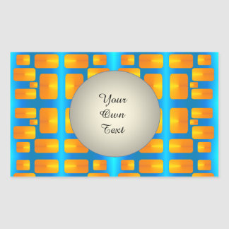 Minimalism Abstract Aqua and Bright Orange Rectangular Sticker