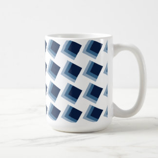 Minimalism abstract blue cubes pattern mug