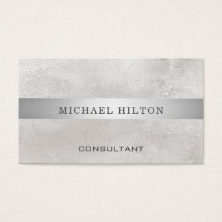 Minimalism elegant brushed stone silver stripe business card