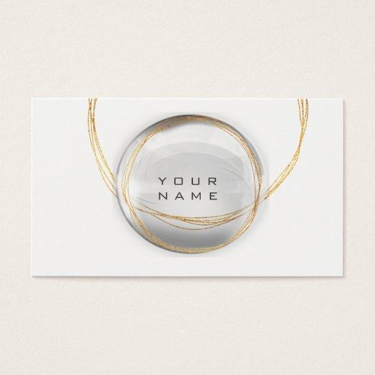Minimalism Gold White Glass Ball Circles Business Card