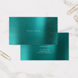 Minimalism Golden Circles Delicate Teel Aquatic Business Card