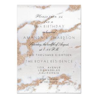 Minimalism Gray Marble Gold Champaigne Birthday Card