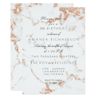 Minimalism Gray White Marble Rose Copper Birthday Card