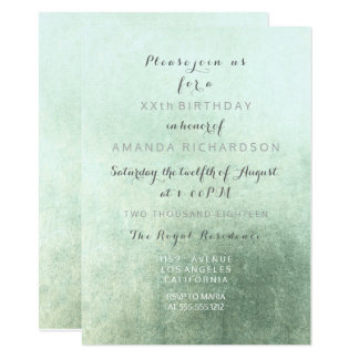 Minimalism Grungy Ombre Greenly Mint Green Party Card