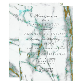 Minimalism Mint Green White Gold Green Marble Card