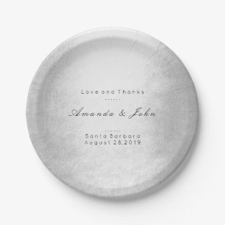 Minimalism Personalised Gray Silver White Wedding Paper Plate