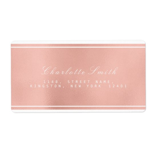 Minimalism Pink Rose Gold Shipping Address Labels