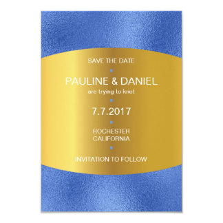 Minimalism Save The Date Cobalt Blue Golden Vip 9 Cm X 13 Cm Invitation Card