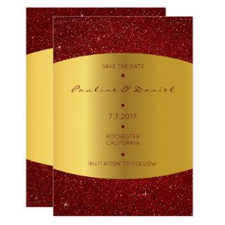 Minimalism Save The Date Golden Red Glitter 9 Cm X 13 Cm Invitation Card