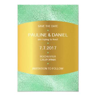 Minimalism Save The Date Mint Green Golden Vip 9 Cm X 13 Cm Invitation Card