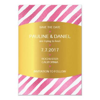Minimalism Save The Date Pink Golden Vip 9 Cm X 13 Cm Invitation Card