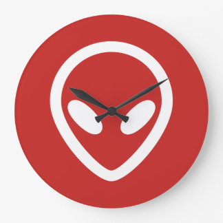 Minimalist Alien is watching you Large Clock