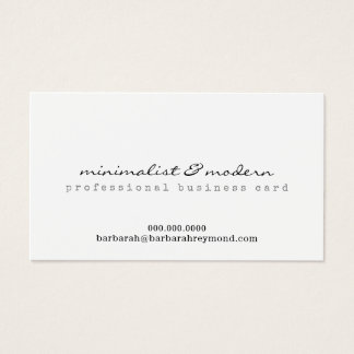 minimalist and modern professional white business card