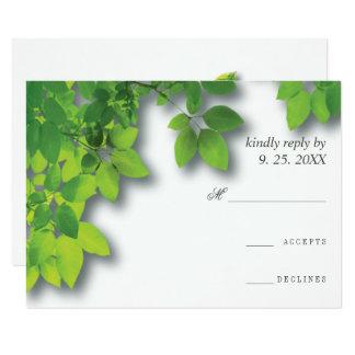 Minimalist Autumn Oak Wedding RSVP Card