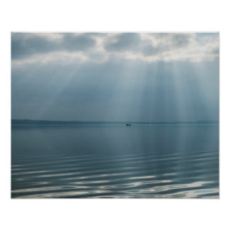 Minimalist Beautiful Seascape with Dramatic Clouds Poster