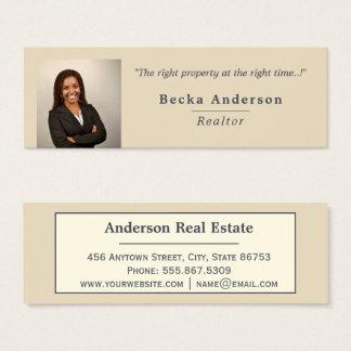 Minimalist Beige Ivory Real Estate Photo Template Mini Business Card