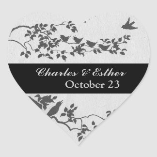 Minimalist Birds Save the Date Heart Sticker