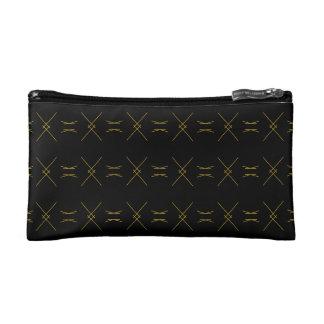 Minimalist Black and Gold Line Pattern Makeup Bag
