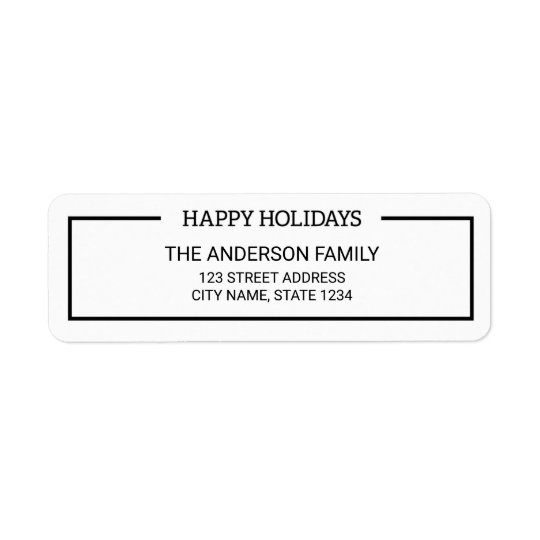 Minimalist Black and White Happy Holidays Address Return Address Label