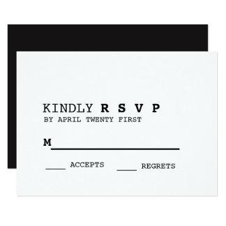 Minimalist Black and White RSVP Card