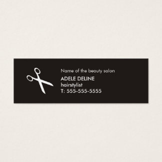 Minimalist Black and White Scissor Hairstylist Mini Business Card