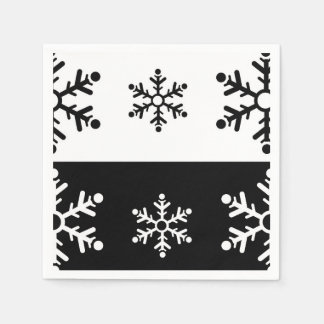 Minimalist black and white snowflake pattern paper napkin