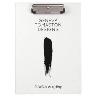 Minimalist Black Brushstroke Designer Logo White Clipboard
