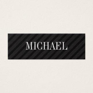 Minimalist Black Stripes with Serif Font Mini Business Card