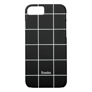 Minimalist Black & White Custom Name iPhone Case