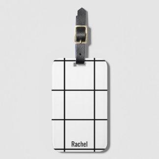 Minimalist Black & White Custom Name Luggage Tag