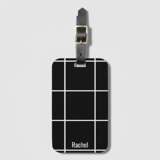 Minimalist Black & White Custom Name Luggage Tag