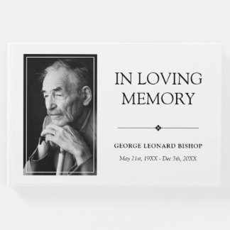 Minimalist Black & White In Loving Memory Photo Guest Book