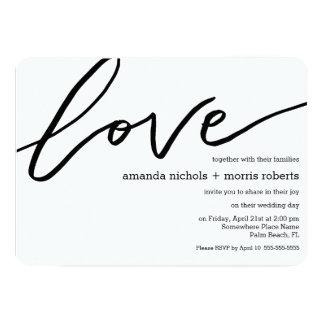 Minimalist Black White Love Typography Wedding Card
