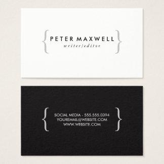Minimalist Black White with Brackets Business Card