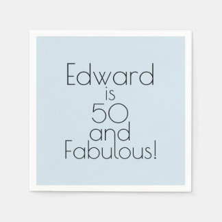 """Minimalist Blue """"50 and Fabulous!"""" Birthday Party Disposable Napkin"""