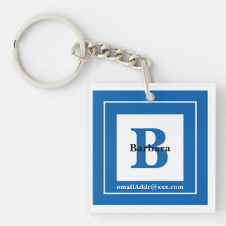 Minimalist - Bold Initials Name and ID Blue Key Ring