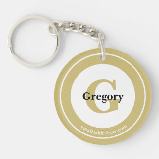 Minimalist - Bold Initials Name and ID Gold Key Ring