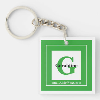 Minimalist - Bold Initials Name and ID Green Key Ring