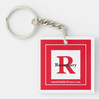Minimalist - Bold Initials Name and ID Red Key Ring