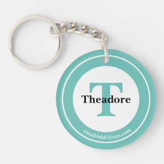 Minimalist - Bold Initials Name and ID Teal Key Ring
